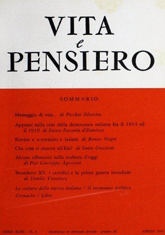 Benedetto XV, i cattolici e la prima guerra mondiale