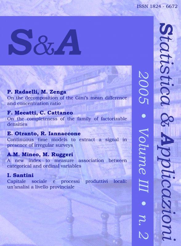 Capitale sociale e processi produttivi locali: un'analisi a livello provinciale