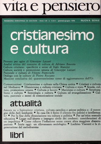 Cultura cristiana: specificità e senso