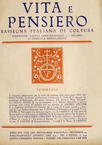 Il carteggio bonomelliano all'Ambrosiana. Nel primo centenario della nascita di Mons. Bonomelli