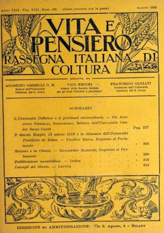 Il decreto Bonghi, 12 marzo 1876 e la chiusura dell'Università Pontificia in Roma