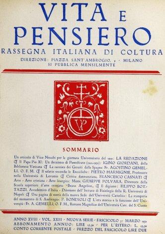 Il Papa Pio XI. Un decennio di Pontificato (1922-1932)