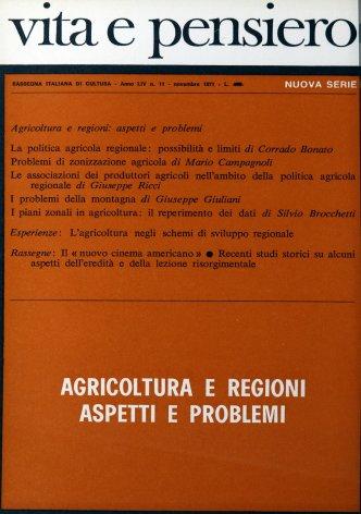 L'agricoltura negli schemi di sviluppo regionale