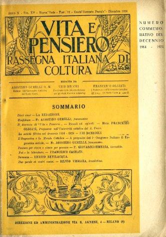 L'eugenetica e la morale cattolica: a proposito del 1° congresso italiano di Eugenetica Sociale