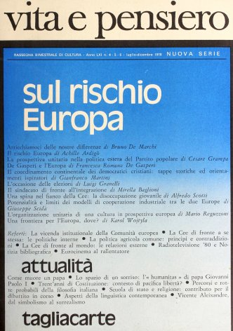 L'organizzazione unitaria di una cultura in prospettiva europea