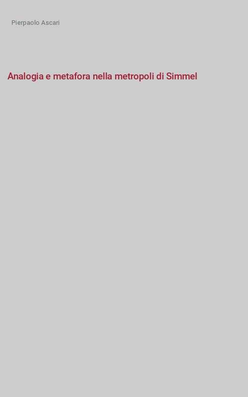 Analogia e metafora nella metropoli di Simmel