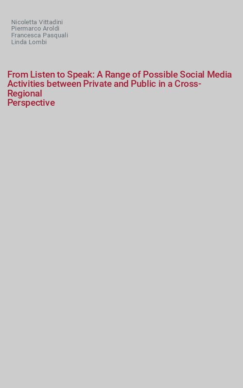 From Listen to Speak: A Range of Possible Social Media Activities between Private and Public in a Cross-Regional Perspective