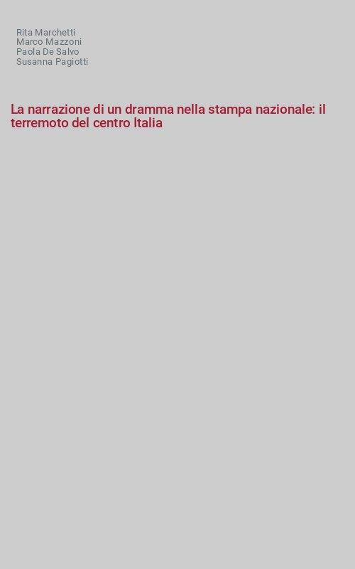 La narrazione di un dramma nella stampa nazionale: il terremoto del centro Italia