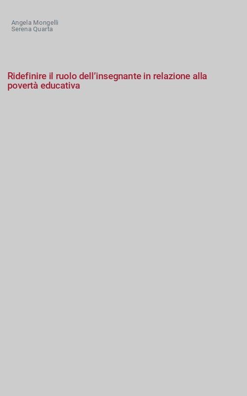Ridefinire il ruolo dell'insegnante in relazione alla povertà educativa