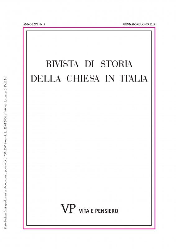 RIVISTA DI STORIA DELLA CHIESA IN ITALIA - 2016 - 1