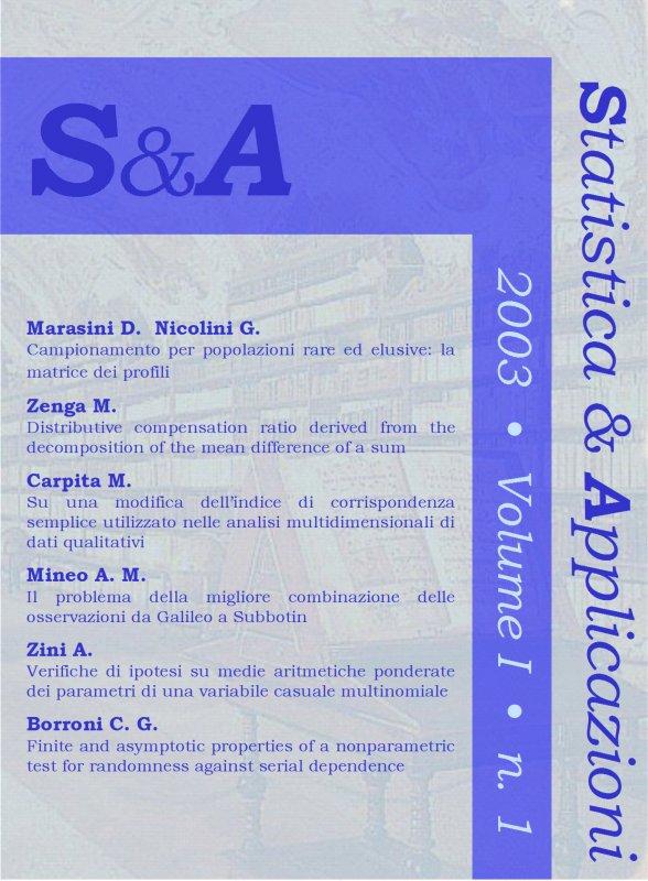 STATISTICA & APPLICAZIONI - 2003 - 1