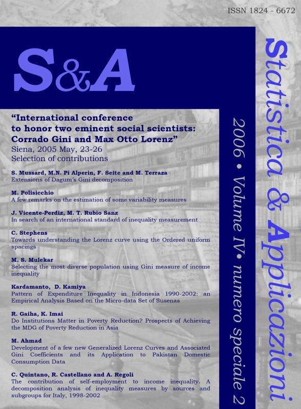 STATISTICA & APPLICAZIONI - 2006 - Special issue 2