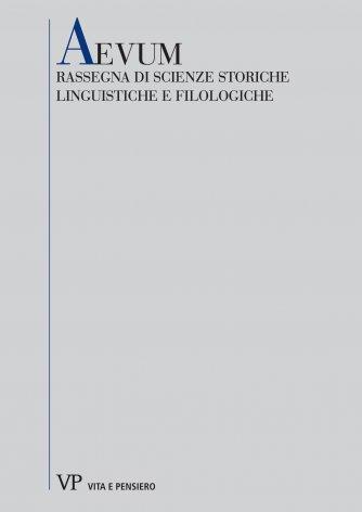 Studi sull'«Itinerarium egeriae»: l'aspetto classico della lingua di Egeria