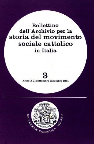 Un programma di lavoro: il carteggio S. Medolago Albani - G. Toniolo