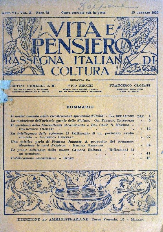 VITA E PENSIERO - 1920 - 1