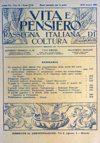 VITA E PENSIERO - 1920 - 3