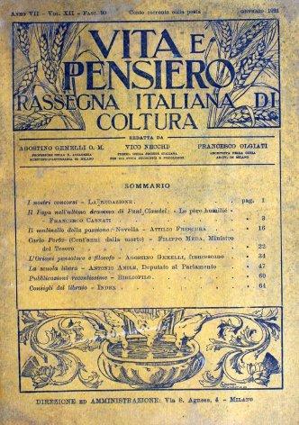 VITA E PENSIERO - 1921 - 1