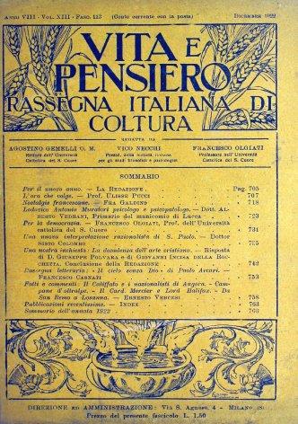 VITA E PENSIERO - 1922 - 12