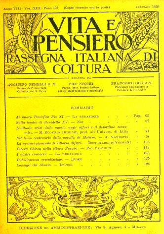 VITA E PENSIERO - 1922 - 2