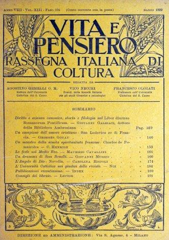 VITA E PENSIERO - 1922 - 3