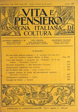 VITA E PENSIERO - 1922 - 4