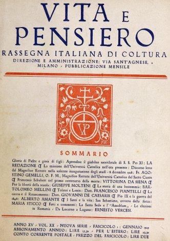 VITA E PENSIERO - 1929 - 1