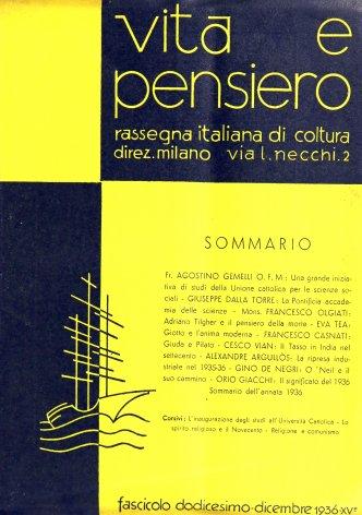 VITA E PENSIERO - 1936 - 12