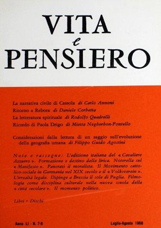 VITA E PENSIERO - 1968 - 7-8