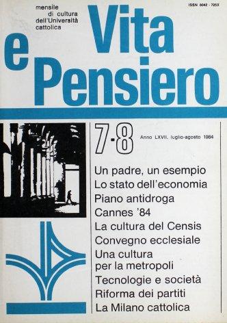 VITA E PENSIERO - 1984 - 7-8