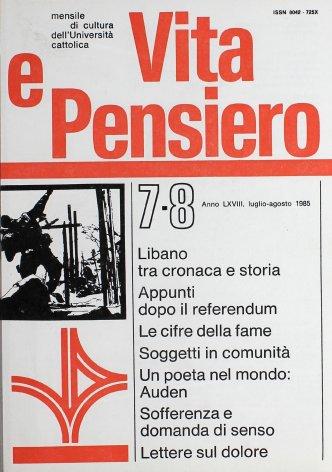 VITA E PENSIERO - 1985 - 7-8