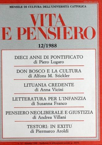 VITA E PENSIERO - 1988 - 12
