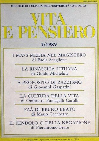 VITA E PENSIERO - 1989 - 5
