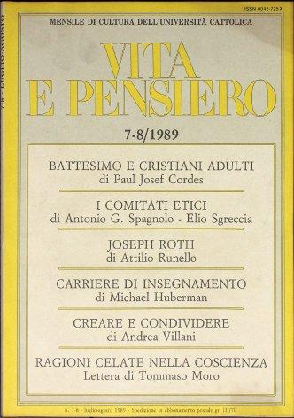 VITA E PENSIERO - 1989 - 7-8
