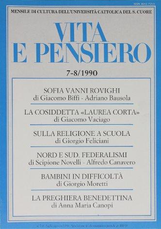 VITA E PENSIERO - 1990 - 7-8